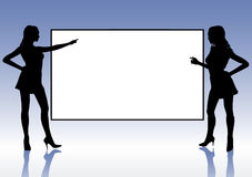 Presentation Girls. Two silhouettes of Girl indicate a blank screen Stock Photo