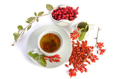 Presentation for goji fresh antioxidant tea Stock Photography