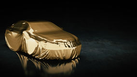 Presentation of the gold sport car Stock Images