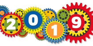 Graphic and colorful greeting card showing a set of gears of different colors driving the 2019 machine vector illustration