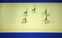 Presentation of gymnasts with ribbons Stock Photo