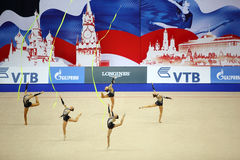 Presentation of gymnasts from Uzbekistan Stock Images