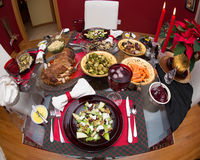 Presentation of a holiday meal. At Christmas time Stock Images