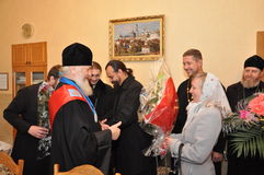 The presentation of honorary diplomas, medals and ribbons Honorary citizen of the city of Gomel Bishop of the Russian Orthodox Chu Stock Image