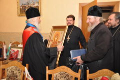 The presentation of honorary diplomas, medals and ribbons Honorary citizen of the city of Gomel Bishop of the Russian Orthodox Chu Royalty Free Stock Photography