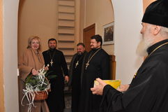 The presentation of honorary diplomas, medals and ribbons Honorary citizen of the city of Gomel Bishop of the Russian Orthodox Chu Stock Images