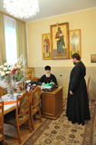 The presentation of honorary diplomas, medals and ribbons Honorary citizen of the city of Gomel Bishop of the Russian Orthodox Chu Stock Photos