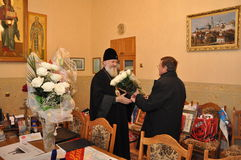 The presentation of honorary diplomas, medals and ribbons Honorary citizen of the city of Gomel Bishop of the Russian Orthodox Chu Stock Photo