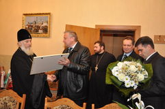 The presentation of honorary diplomas, medals and ribbons Honorary citizen of the city of Gomel Bishop of the Russian Orthodox Chu Stock Photography