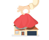 Presentation house. House covered with red silk cloth. Opening construction concept. Vector illustration flat design. Isolated on white background. Show home Royalty Free Stock Images
