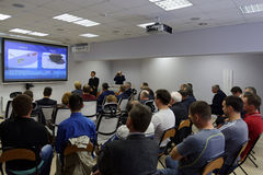 Presentation of the Ice navigation training center. St. Petersburg, Russia - September 22, 2015: Presentation of the Ice navigation training center in Krylov royalty free stock images