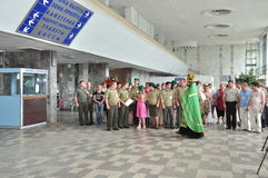 The presentation of the icon of the Archangel Michael and the procession at the city airport Gomel (Belarus) is 25 June 2012. Stock Photography