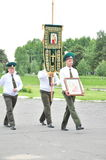 The presentation of the icon of the Archangel Michael and the procession at the city airport Gomel (Belarus) is 25 June 2012. Stock Photo