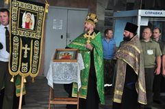 The presentation of the icon of the Archangel Michael and the procession at the city airport Gomel (Belarus) is 25 June 2012. Stock Images