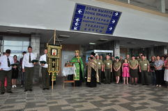 The presentation of the icon of the Archangel Michael and the procession at the city airport Gomel (Belarus) is 25 June 2012. Stock Image