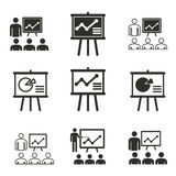 Presentation icon set. Presentation vector icons set. Black illustration isolated on white background for graphic and web design royalty free illustration