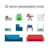 Presentation icons with projector and comfortable seats Stock Image