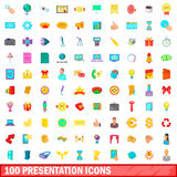 100 presentation icons set, cartoon style. 100 presentation icons set in cartoon style for any design vector illustration Stock Photos