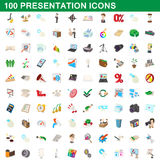 100 presentation icons set, cartoon style Royalty Free Stock Photos