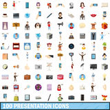 100 presentation icons set, cartoon style. 100 presentation icons set in cartoon style for any design vector illustration Royalty Free Stock Photo