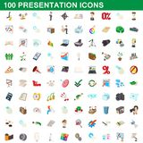 100 presentation icons set, cartoon style. 100 presentation icons set in cartoon style for any design illustration royalty free illustration