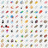 100 presentation icons set, isometric 3d style. 100 presentation icons set in isometric 3d style for any design vector illustration Stock Image