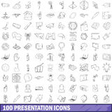 100 presentation icons set, outline style. 100 presentation icons set in outline style for any design vector illustration Vector Illustration