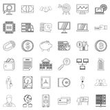 Presentation icons set, outline style Royalty Free Stock Images
