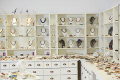 Presentation of jewelry in store Stock Image