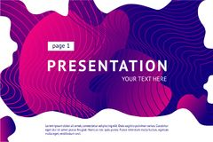 Presentation and landing page vector poster template. Abstract minimal background with smooth shape. Guilloche line. Presentation and landing page vector poster royalty free illustration