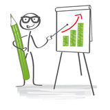 Presentation. Lecture, discussion, increase sales. Business man explaining on a flip chart Royalty Free Stock Images