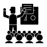 Presentation - meeting - lecture icon, vector illustration, black sign on isolated background Stock Image