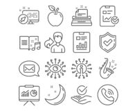 Presentation, Messenger and Jazz icons. Report checklist, Artificial intelligence and Typewriter signs. Vector. Set of Presentation, Messenger and Jazz icons royalty free illustration