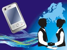 Presentation of a mobile telephone stock photos