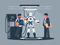 Presentation of modern robot. Robotics engineer shows new technologies. Vector illustration Stock Image
