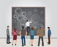 Presentation of a new business project, concepts, ideas, strategies stock illustration