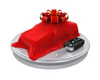 Presentation of the New Car with Car Key and Ribbon Royalty Free Stock Photos