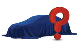 Presentation of New Car With Question Mark wrapped under a sheet Gift red bow, Close up a new car hidden under cover. Royalty Free Stock Images