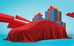 Presentation of New Car With Question Mark wrapped under a sheet Gift red bow, Close up a new car hidden under cover. Royalty Free Stock Photos
