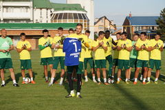 Presentation of the new keeper of FC Kuban Eugene Frolov to fans. Soccer, football, team, rpfl royalty free stock photos