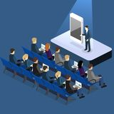 Presentation of a new phone or mobile application. Flat 3D illustration. Presentation of a new phone or mobile application. Business presentation meeting in Royalty Free Stock Photos