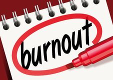 The word burnout noted on a notepad. Presentation of the problem of burnout at work written on a notebook and surrounded by a red marker stock illustration