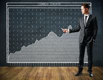 Presentation and profit concept. Handsome european businessman drawing business chart on chalkboard in interior. Presentation and profit concept. 3D Rendering Royalty Free Stock Photography
