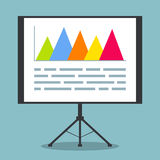 Presentation on projection screen with data. Presentation on projection screen with project data, graphs and charts. EPS10 vector illustration in flat style Royalty Free Stock Photography