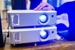 Presentation projector. Business conference, product demonstration or workshop stock photography