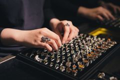 Presentation of retail showcase in jewellery store with rings stock photo