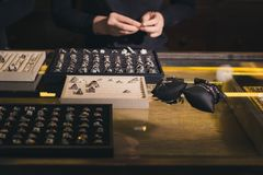 Presentation of retail showcase in jewellery store with rings stock photos