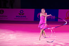 Presentation with ribbon. MOSCOW, RUSSIA - FEBRUARY 21, 2016:Son Yeon Jae, Korea at the gala concert Grand Prix Moscow - 2016 in Moscow sport palace Luzhniki royalty free stock photos
