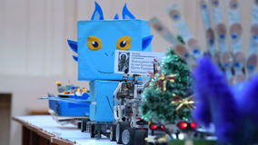 Presentation of robotics projects made by children stock video footage