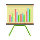 Presentation Screen with Bar Chart Isolated Vector. Presentation screen with bar charts isolated. Presentation board with information, scheme, stock lines. Flip Royalty Free Stock Photography
